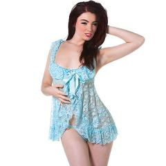 DeNamour Lacy Babydoll with Ribbon by Shots Fashion, Large/XL, French Kiss Blue