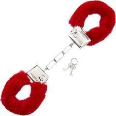 Shots Pleasure Furry Handcuffs for Kinky Lovers, Cherry Red