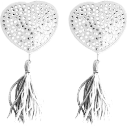 Ouch! Heart-Shaped Naughty Pleasure Nipple Tassels by Shots, White