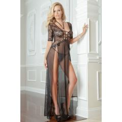 Sheer and Lace Gown with Double Front Slit with Straps and Thong Black One Size