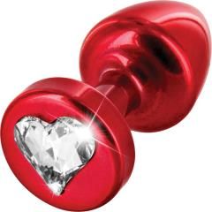 Diogol Anni Metal Butt Plug, Round Base T1 25 mm, Red with Heart Crystal