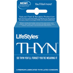 LifeStyles Thyn Lubricated Condoms, 3 Pack