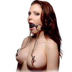 Master Series Hinder Breathable Silicone Ball Gag with Nipple Clamps, Black