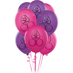 Bachelorette Party Favors Pecker Balloons, 8 Pieces, Pink and Purple