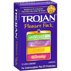 Trojan Pleasure Pack Lubricated Condoms, 12 Pack