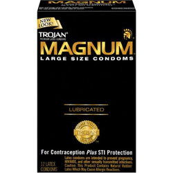 Trojan Magnum Large Size Lubricated Condoms, 12 Pack