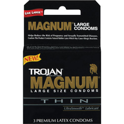 Trojan Magnum Thin Large Size Condoms with UltraSmooth Lubricant, 3 Pack
