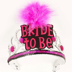 Bachelorette Party Bride To Be Tiara, Black and Pink