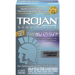 Trojan Sensitivity Thintensity Latex Condoms with UltraSmooth Lubricant, 12 Pack