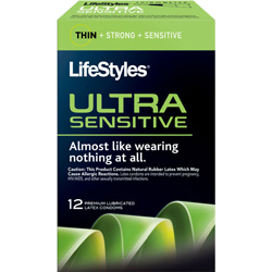 LifeStyles Ultra Sensitive Lubricated Condoms, 12 Pack
