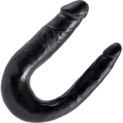 King Cock U-Shaped Small Double Trouble Dildo, Black