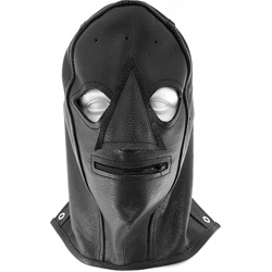 Rouge Leather Zip Mask, Black