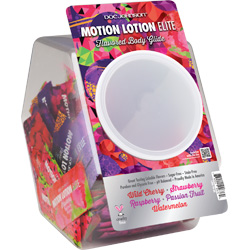 Motion Lotion Elite Fishbowl Display 120 Pieces, Assorted Pillow Paks .24oz Each