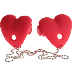 Fetish Fantasy Series Vibrating Heart Pasties, Red