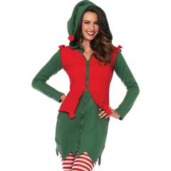 Cozy Elf Fleece Dress with Elf Hood And Pom Poms, Small, Green/Red
