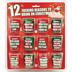 12 Fucking Reasons To Drink On Christmas 12pc Shot Glass Set