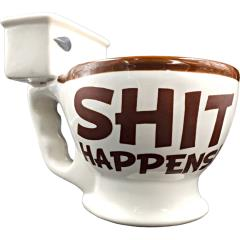 Shit Happens Toilet Bowl Shape Coffee Mug, White/Brown