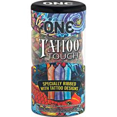ONE Tattoo Touch Pleasure Ribbed Condoms, Pack of 12