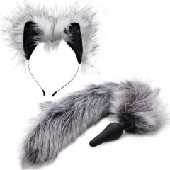 Tailz Grey Wolf Tail Anal Plug and Ears Set, White/Grey