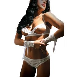 Forever Yours Bra, Panty & Arm Cuffs, One Size, White