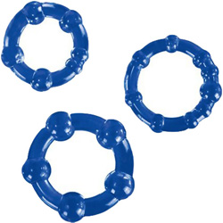 Blush Stay Hard Beaded Cock Rings, 3 Ring Set, Blue