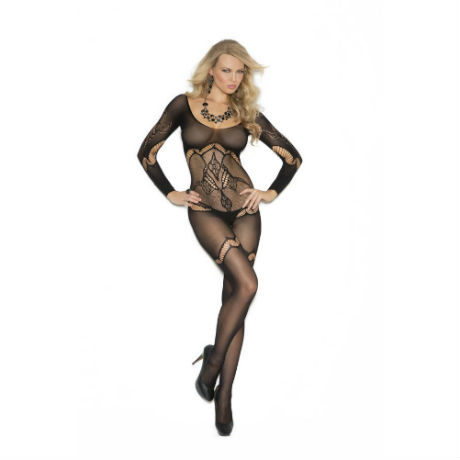 Long Sleeve Floral Crochet Bodystocking with Open Crotch, One Size, Black